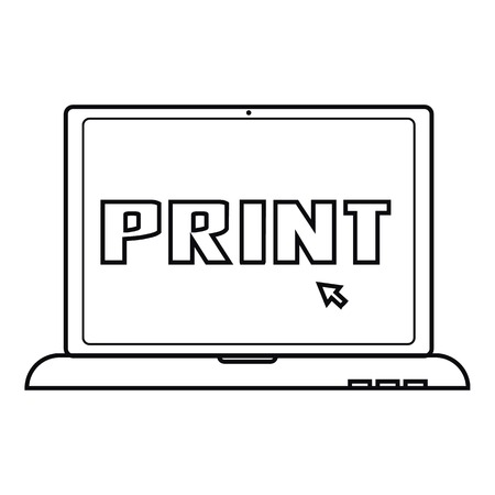 Print icon. Outline illustration of print vector icon for web