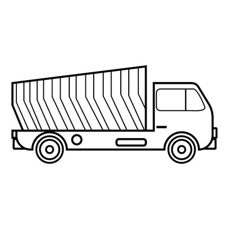 construction vehicle: Garbage truck icon, outline style