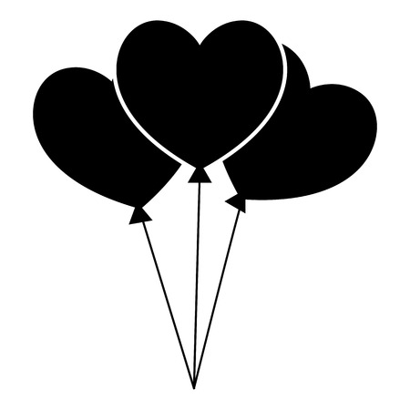 Three hearts icon, simple style