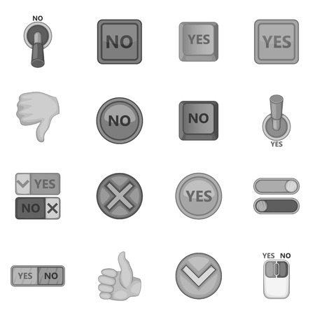 yes no: Yes no icons set, monochrome style