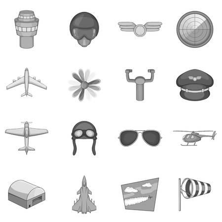 interceptor: Aviation icons set, monochrome style