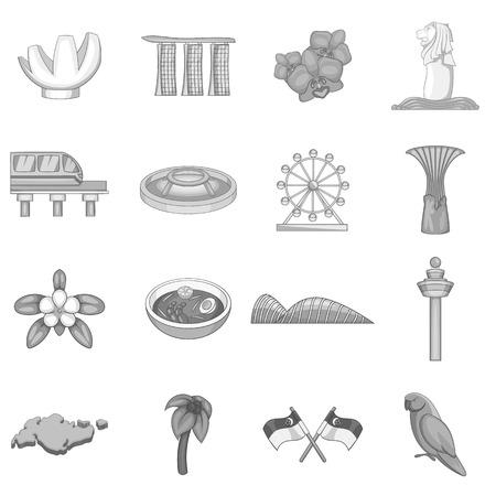 Singapore travel icons set, monochrome style 일러스트