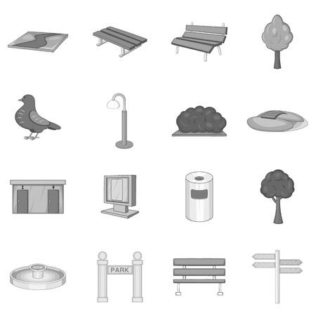 icônes du parc ensemble, style monochrome