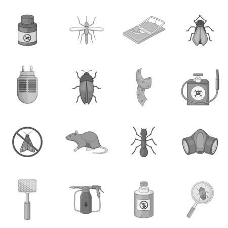 exterminator: Exterminator icons set, monochrome style Illustration
