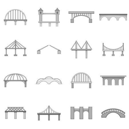 Bridge construction icons set, monochrome style