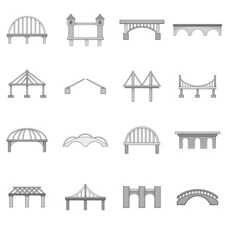 Jeu d'icônes de construction de pont, style monochrome Vecteurs