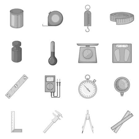 height measure: Measure tools icons set, monochrome style