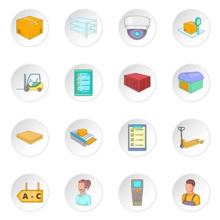Warehouse store icons set