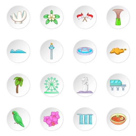 Singapore travel icons set Illustration