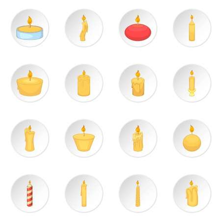Different candle icons set