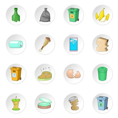 Garbage items icons set