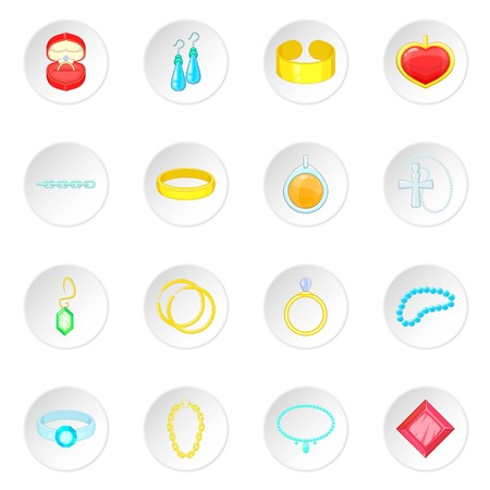 Jewelry items icons set Illustration