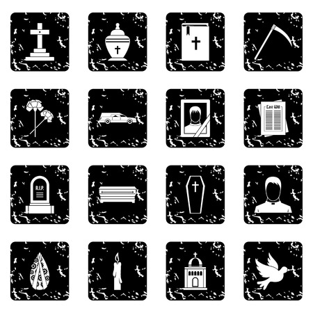 demise: Funeral icons set