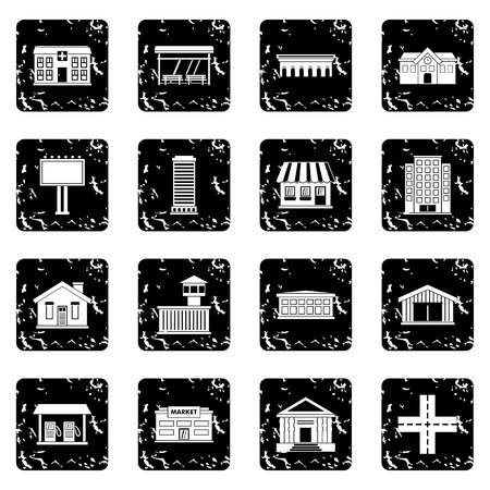 City infrastructure items icons set