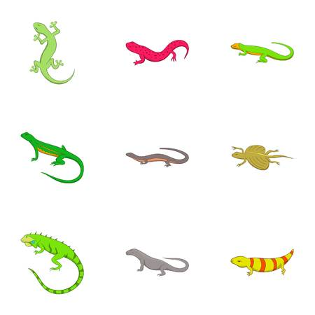 Amphibian reptile species icons set, cartoon style Illustration
