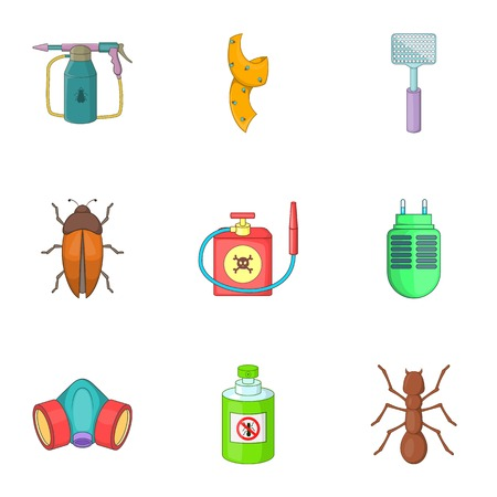 No insects icons set, cartoon style