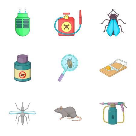 pest control equipment: Home pest control service icons set, cartoon style