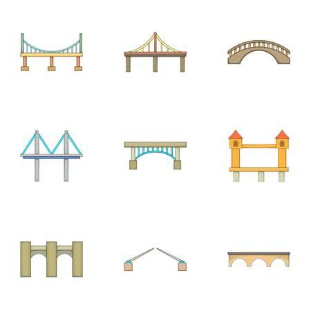 다양 한 유형의 다리 아이콘 설정, 만화 스타일