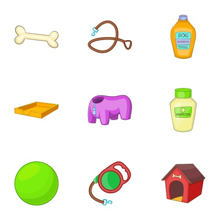 toy toilet bowl: Veterinary and grooming icons set, cartoon style Illustration