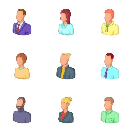 People icons set, cartoon style