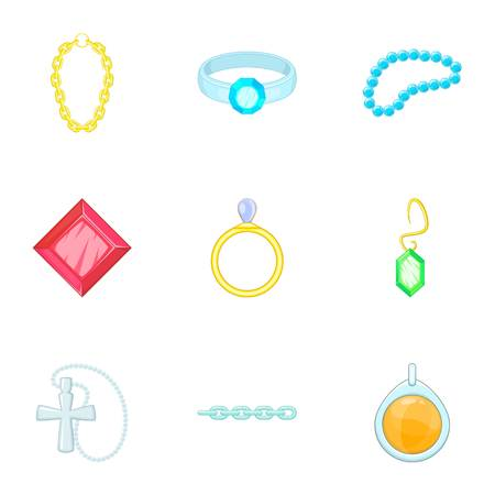 Gold and silver jewelry icons set, cartoon style