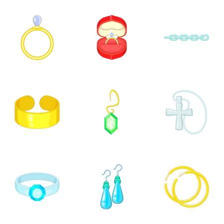 Precious gifts icons set, cartoon style