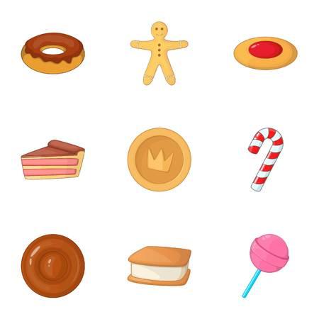 Desserts icons set, cartoon style