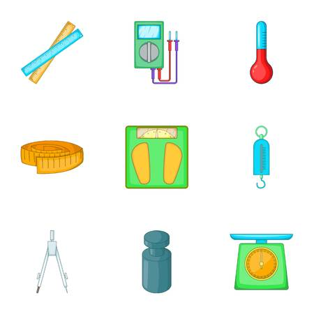 Tools for measurement icons set, cartoon style