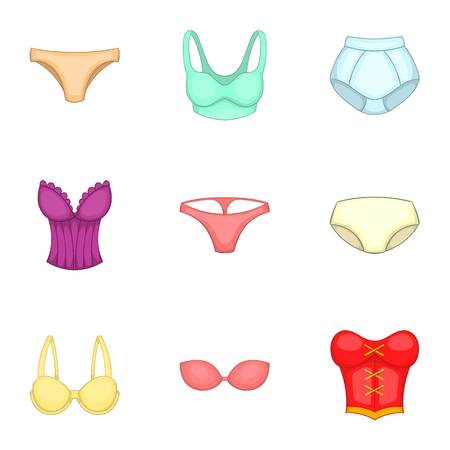 knickers: Lingerie elements icons set, cartoon style Illustration
