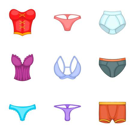 Underwear clothes icons set, cartoon style