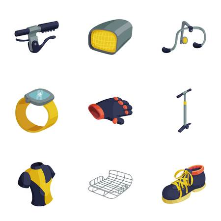Bicycle equipment icons set, cartoon style