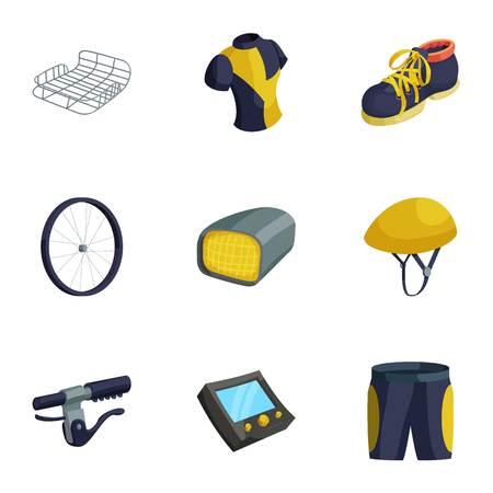 Bicycle, bike sport icons set, cartoon style