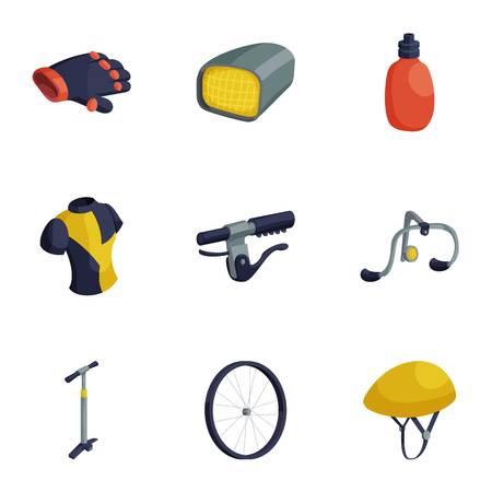 Cycling accessories icons set, cartoon style