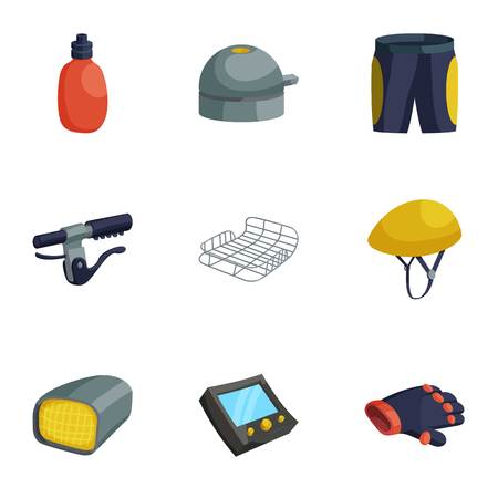 Biking accessories icons set, cartoon style Illustration
