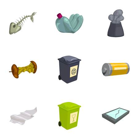 Trash and garbage icons set, cartoon style