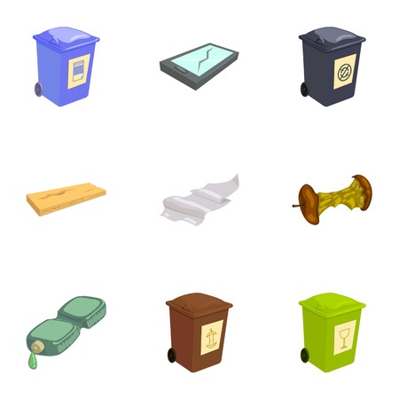 Trash for recycling icons set, cartoon style