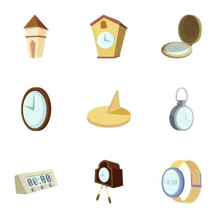 Clocks, time icons set, cartoon style