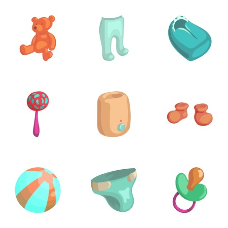 little girl bath: Products for newborns icons set, cartoon style