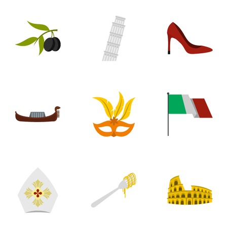leaning tower of pisa: Italy icons set, flat style