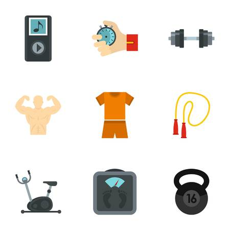 Bodybuilding icons set, flat style Vetores
