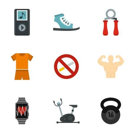 Sports training icons set, flat style