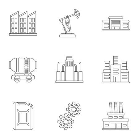 gear icon: Gasoline icons set, outline style Illustration