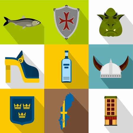 Country of Vikings icons set, flat style