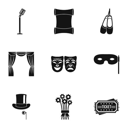 theatrical performance: Theatrical performance icons set, simple style