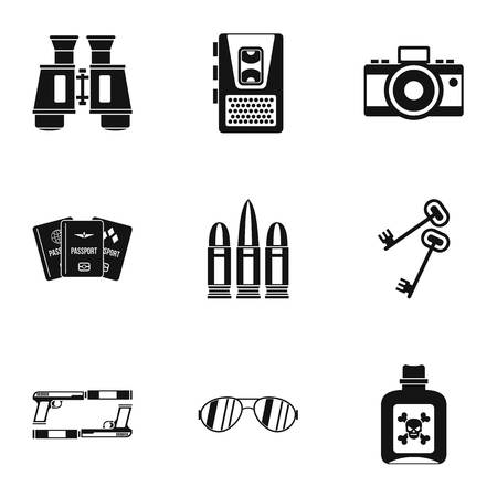 secret agent: Secret agent icons set, simple style