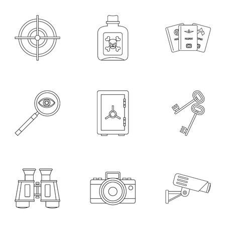 secret agent: Secret agent icons set, outline style Illustration