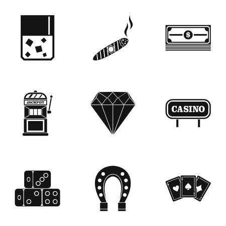 wad: Gambling icons set, simple style Illustration