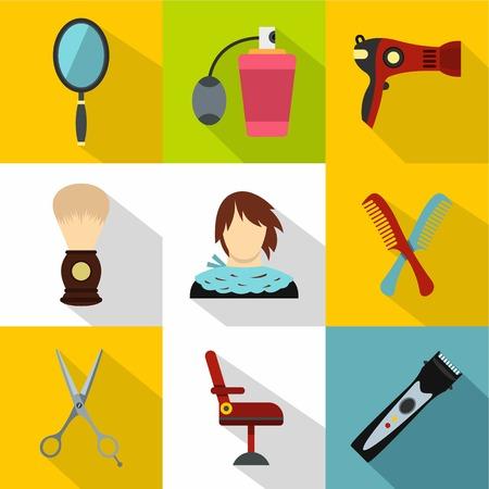 Barber icons set, flat style