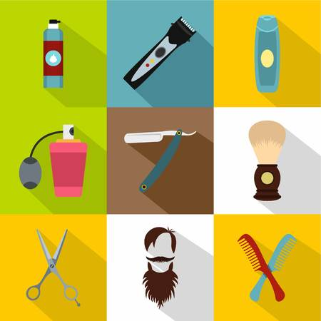 clippers comb: Barbershop icons set, flat style Illustration