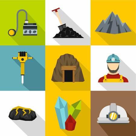 Mining activities icons set, flat style Illustration